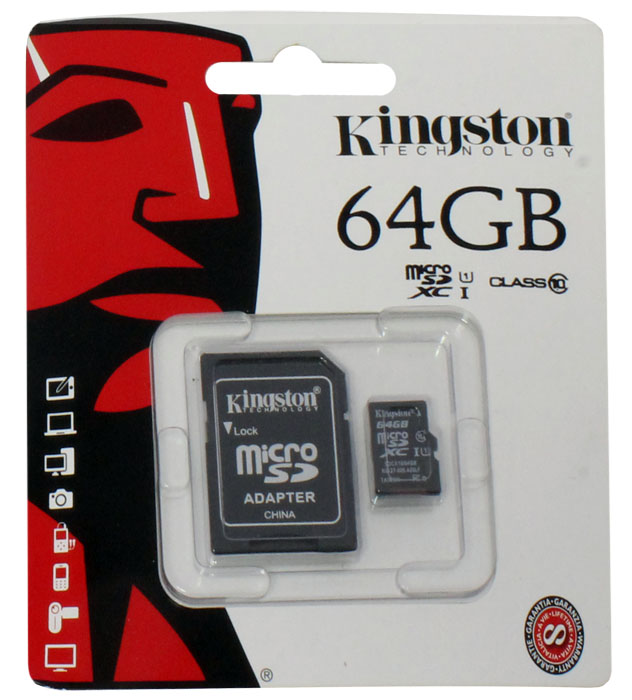 Карта памяти Kingston microSDHC 64Gb class10